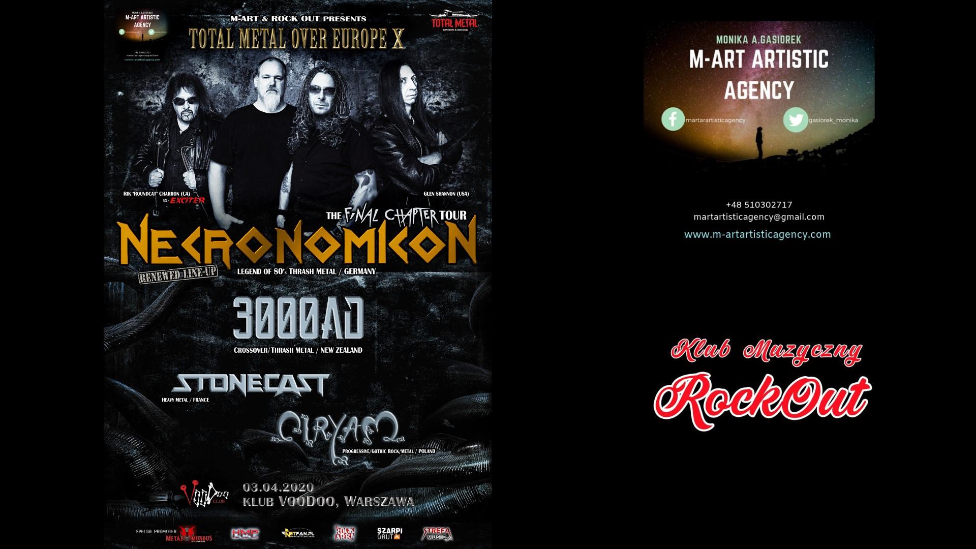 03.04 (piątek) Necronomicon [GER] X 3000AD [NZ] x Stonecast [FR] x Ciryam [PL] - VooDoo Club, Warszawa
